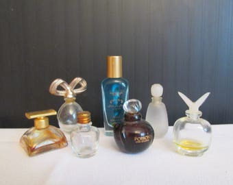 7 Vintage Miniature Perfume Bottles - Spellbound - Estee Lauder - Victoria Secret - Poison - Pique Cologne - 2 unmarked