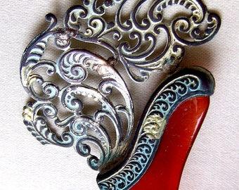Victorian asymmetric silver tone hair comb hair accessory hair pin hair pick hair fork decorative comb hair ornament