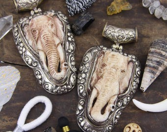 "Elephant in Bone: Silver & Brass Bezel Set, Relief Carved Pendant, Totem, Bohemian, Spirit Animal, Jewelry Making, Boho Fashion, 4.00"", 1 pc"