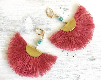 Red and Turquoise Tassel Earrings. Chandelier Earrings.  Dangle Earrings.  Statement Earrings. Jewelry Gift. Gold Tassel Earrings. Gift.