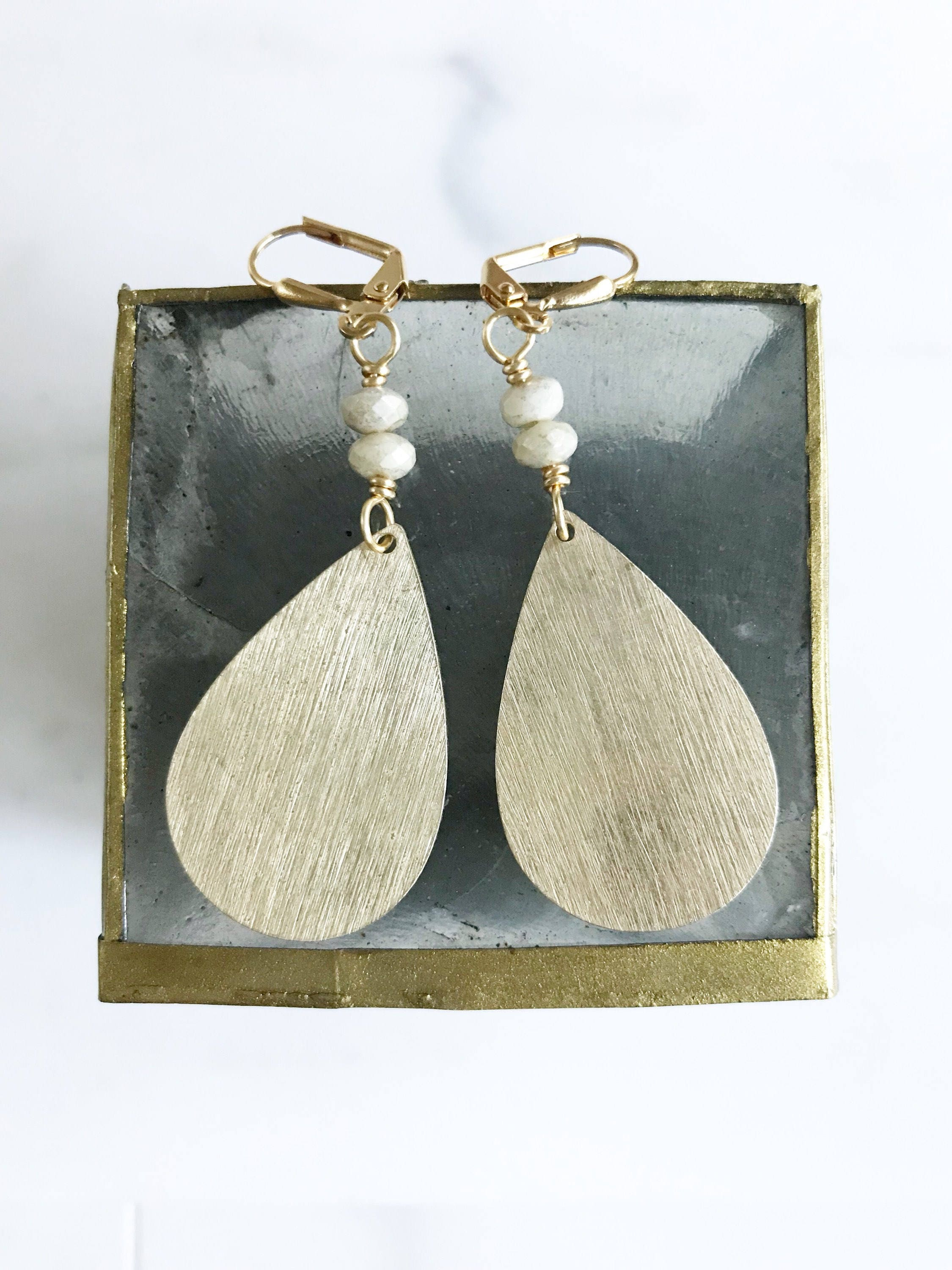 Brushed Gold Chandelier Earrings Dangle Earrings Statement