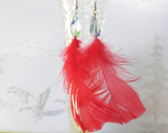 Red Feather Earrings with Glass Beads