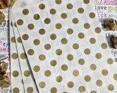 GLAMSALE 50 Gold Metallic Polka Dot Candy Bags, Wedding Candy Bags, Party Favor Bags, Holiday Gift Bags