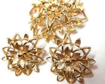 Brooch & Earrings Set SARAH COV 70's Gold Flowers Stars Clips demi Victorian revival Gift Bride Mother