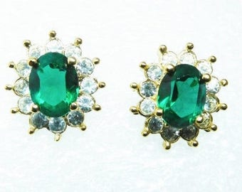 Faux Emerald Earrings Vintage Green and Clear Rhinestone Earrings 70's Signed ROMAN May birthstone