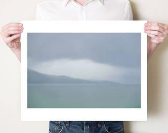 Scotland landscape photography print. Misty coastal Scottish seascape, fine art photograph. Neutral monochrome wall art. Scotland artwork