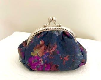 Denim floral foil fabric coin purse with chain