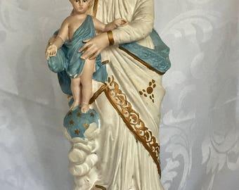 Antique French Madonna Notre Dame des Victoire Statue