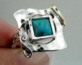 Sterling Silver 925 and 9K Yellow Gold rings , Handcrafted square rings,turquoise stone rings,gift , christmas (ms 328r)