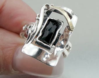 Sterling Silver 925 and 9K Yellow Gold rings , Handcrafted square rings,onix stone rings,gift , christmas (ms 353r)