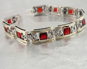 Stunning 9k Yellow Gold 925 Sterling Silver garnet  cz bracelet, Peridot Bracelet, Gift, Free shipping, Wedding Jewelry, Israeli  (vs 2613)