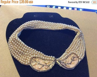 XMASinJULY Vintage Faux Pearl Collar with detailed embroidery beading Truly Royal Sticker back hook closure theatre show