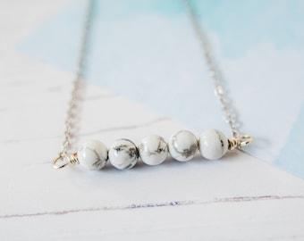 Gemstone Choker, Howlite Choker, Silver Howlite Choker, Monochrome Choker, Dainty Necklace, Handmade Choker, Beaded Choker, Gift For Her