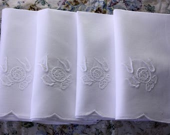 Vintage Embroidered  Table Napkins  in  White, Set of 12