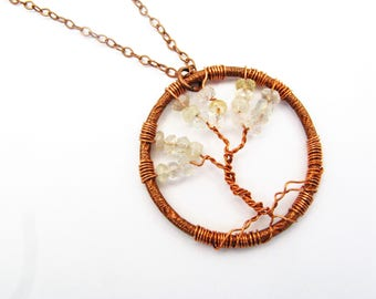 Copper, Moonstone and Quartz Tree of Life Pendant