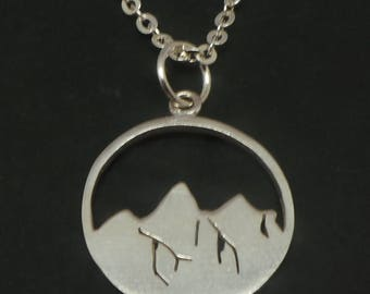 925 Sterling Silver Mountain Necklace Pendant - Mountain Travel Jewelry Round Circle Disc Necklace, Gift Traveler, Climber, Hiker, Campers