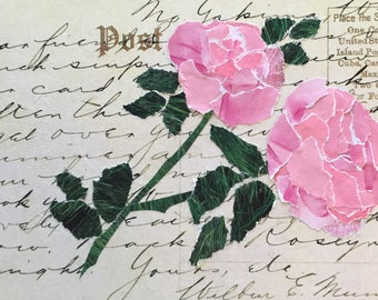 Postcard with Pink Roses - paper collage art