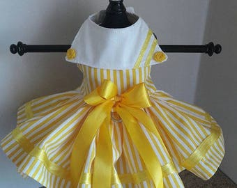 Dog Dress  yellow with white stripes and roses