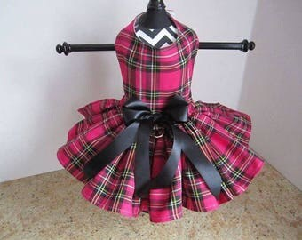 Dog Dress  Hot pink and Black plaid