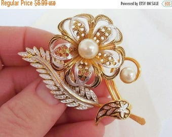 40% OFF NOW Lightweight Filigree Pearl Floral Brooch