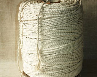 50 % DISCOUNT - SUPER SALE 6 mm Cotton Rope = 1 Spool = 379.48 Meters = 415 Yards of Natural and Elegant Cotton Twisted Cord