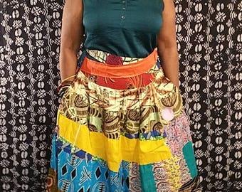 Ankara Patch Maxi Skirt with Elastic waist