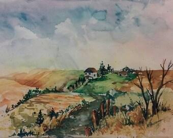 Farmscape study in watercolor 8x10 inch original on paper