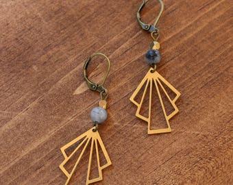 Boucles d'oreilles geometrique en laiton // jade (BO-1312)