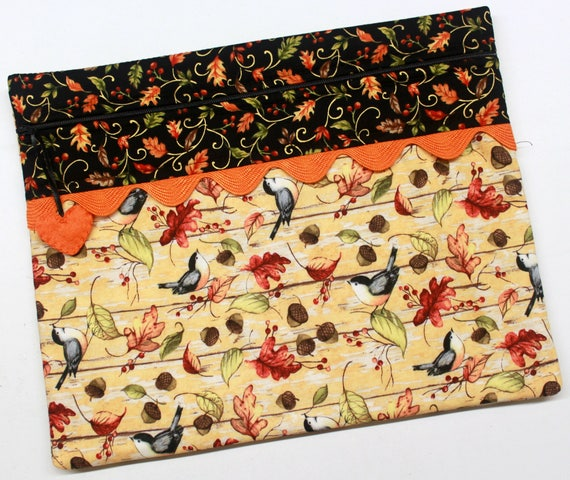 Fall Sparrows Cross Stitch Embroidery Project Bag
