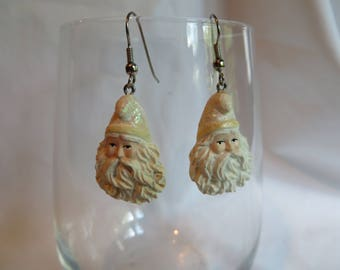 Santa Earrings on Silver Ear Wires, Earrings, Santa