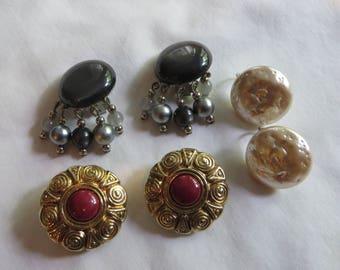 Vintage Clip On Earrings, vintage, clip on, earrings, white, burgundy, gray