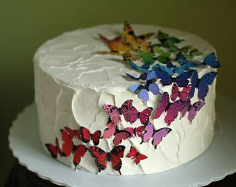 "8"" round  rainbow butterflies fake cake, dummy cake tier faux cake for photo shoots. First birthday photo shoot prop"