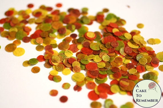 Autumn colors edible confetti for cake decorating cupcake for Decorating quins