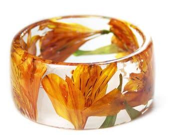 Orange Tiger Lily Bracelet -Jewelry with Real Flowers- Dried Flowers- Orange Bracelet - Orange Dried Flowers- Orange Bracelet-Resin Jewelry