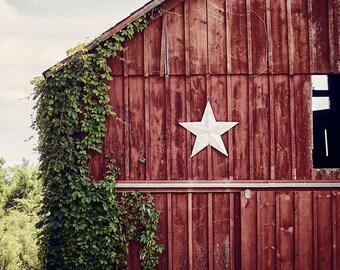 Red Farmhouse Decor, Primitive Fixer Upper Decor Wall Art Print or Canvas Art, Barn Art, Barn Photography, Red Barn with Star, Country Art.