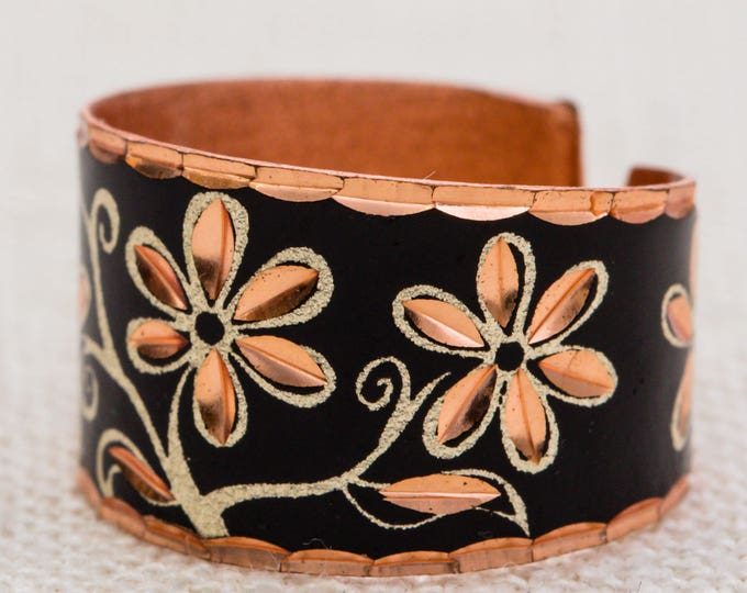Rose Gold Flower Vintage Ring Etched Enamel Black Copper Silver Unique Adjustable 7RI