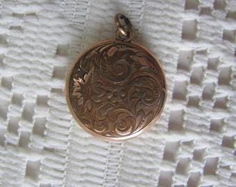 Art Nouveau Locket, Antique Pendant, Signed SKM Gold Filled, Antique Jewelry