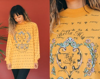 Mustard Yellow Mock Neck Shirt / Turtleneck Knit Top / Pullover Sweatshirt / ITALIAN Graphic Tee / Long Sleeve Oversized T-Shirt Hipster