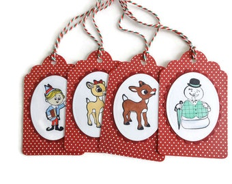 8 Rudolph Gift Tags, Rudolph Hang Tags, Christmas Tags, Hand made tags