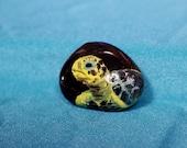 Miniature Painting of sea turtle - Rock Art - Sea Painting