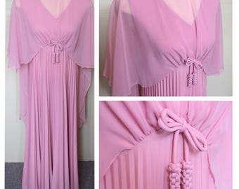Vintage 60s/70s Blush Pink Pleated Empire Waist Dress With Sheer Cape Overlay // Evening Gown // Formal Dress // Maxi Dress