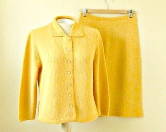 Vintage Hand Knit Sweater & Skirt Set, 1960s Knit Suit, Cardigan and Skirt, Mustard Yellow, Size Medium.