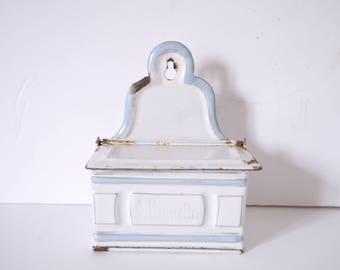 French Vintage match box enamel White with baby blue stripes