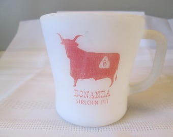 Vintage Bonanza Sirloin Pit Mug, Coffee Mug, Restaurant Coffee Mug, Federal Glass Mug