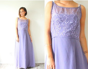 40% OFF CHRISTMAS in JULY Vintage Purple maxi dress // prom lace embroidered dress // boho dress // 50's 60's dress / lace illusion neckline