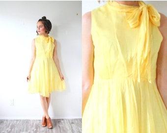 40% OFF CHRISTMAS in JULY Vintage 1950's yellow summer dress // boho 1960's flutter bow necktie dress // mini retro old school elegant prom