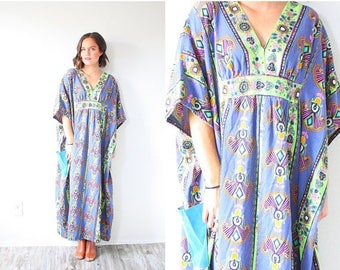 30% OFF SALE Vintage 1960's purple blue oversized dress // hippie dress // bohemian tribal dress // 70's floral dress // navajo floral dress