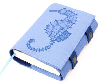 Seahorse (small), Journal, Notebook, Sketchbook, Softcover, Cotton, Personal agenda, Travel Journal, Diary, Calendar, Unique gift, Artistic