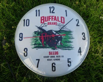 Vintage Rustic • Buffalo Brand Seeds by Sharp Brothers Seed Company in Healy Kansas Wall Clock | Advertisement Farmhouse Chic Farm | USA