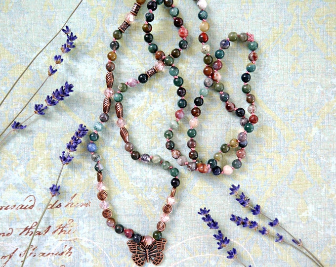 mixed color agate beads handknotted necklace with copper accents and czech glass bead detail, butterfly pendant in antique copper, colorful